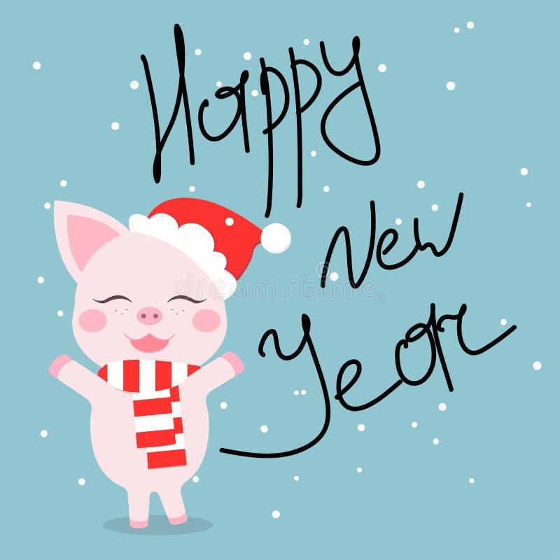 在围巾和帽子愿望的逗人喜爱的猪每新年快乐 免版税库存图片