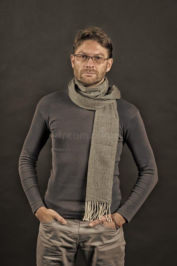 在围巾和毛线衣的商人用在口袋的手 免版税库存图片
