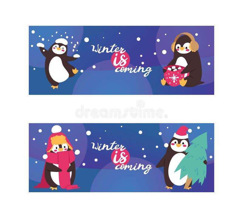 在围巾和耳朵笨拙的人的企鹅动物在与落的雪的冬天 滑稽的极性冬天鸟横幅海报 动画片 向量例证