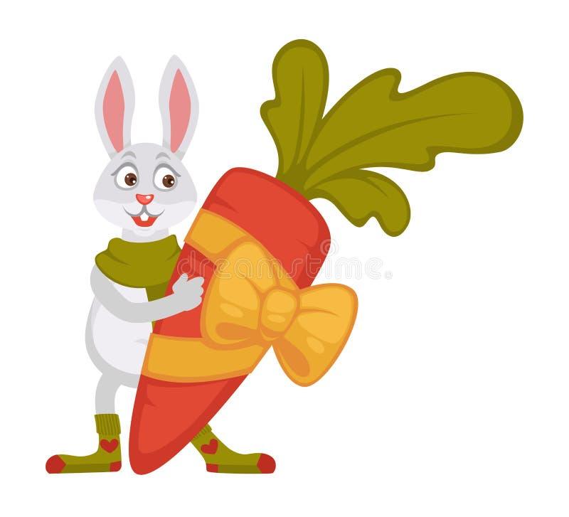 在围巾和袜子的兔子拿着在丝带的巨大的红萝卜 库存例证