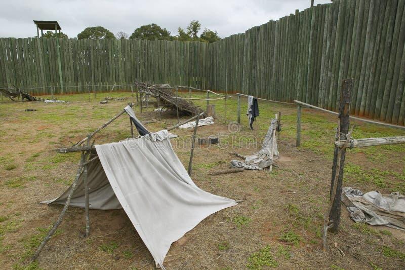 在国家公园Andersonville的展览或同盟者南北战争监狱阵营Sumter,美国人联合囚犯的站点和公墓 图库摄影