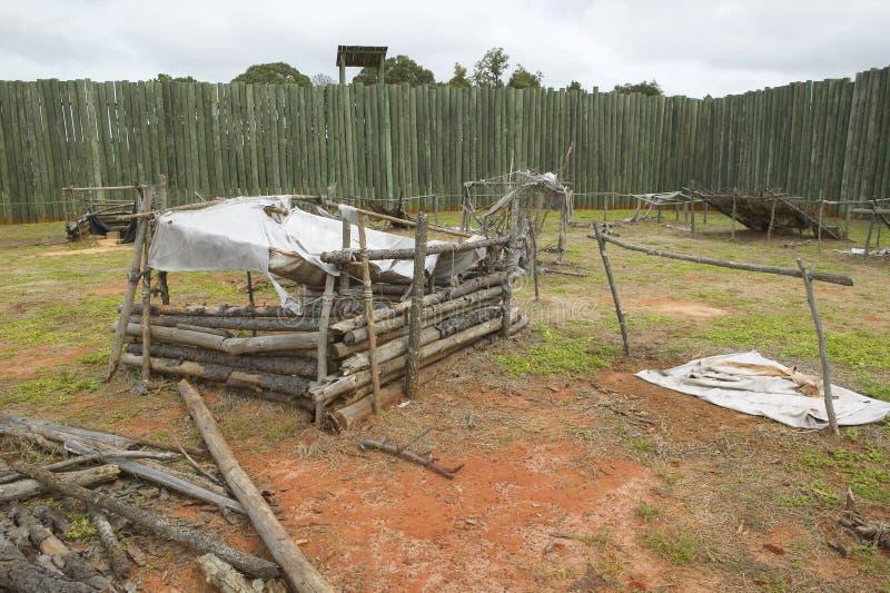 在国家公园Andersonville的展览或同盟者南北战争监狱阵营Sumter,美国人联合囚犯的站点和公墓 免版税库存照片
