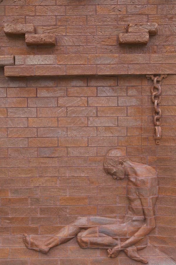 在国家公园Andersonville的显示或同盟者南北战争监狱阵营Sumter,美国人联合囚犯的站点和公墓 库存照片