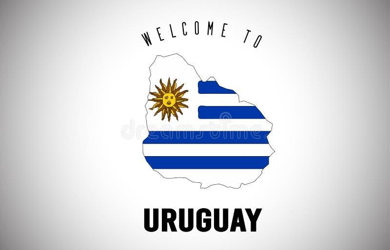 在国家边界地图传染媒介设计里面的发短信的乌拉圭欢迎和国旗 皇族释放例证