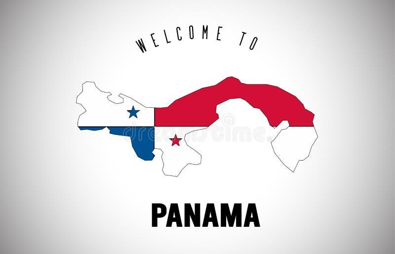 在国家边界地图传染媒介设计里面的发短信的巴拿马欢迎和国旗 向量例证