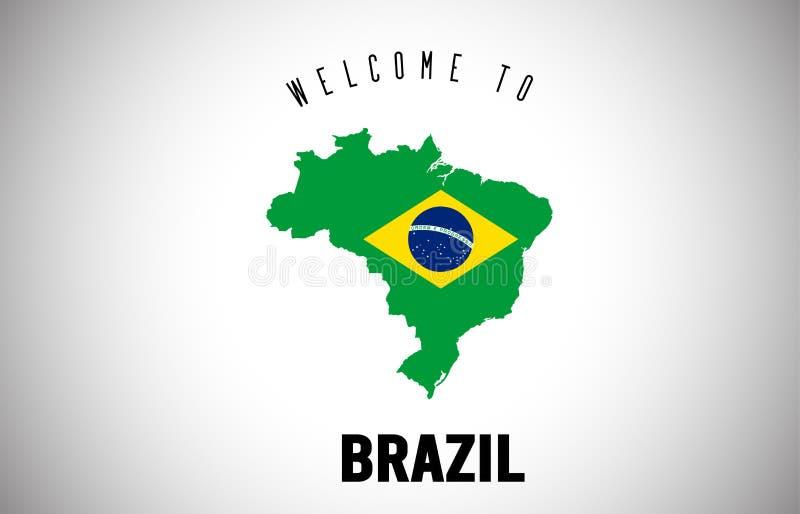 在国家边界地图传染媒介设计里面的发短信的巴西欢迎和国旗 向量例证
