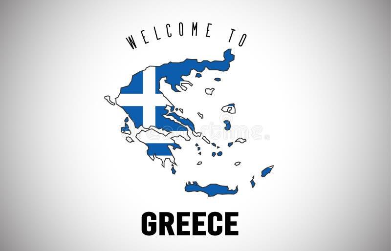 在国家边界地图传染媒介设计里面的发短信的希腊欢迎和国旗 向量例证