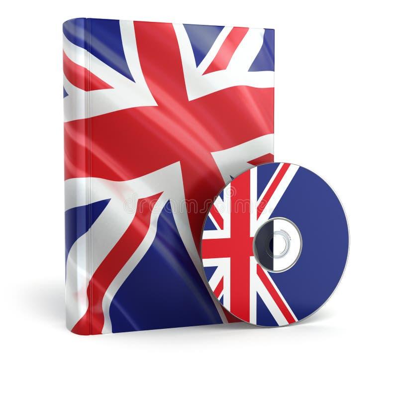 在国旗盖子和CD的英国书 库存例证