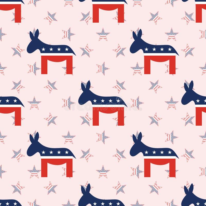 在国民的民主党驴无缝的样式 向量例证
