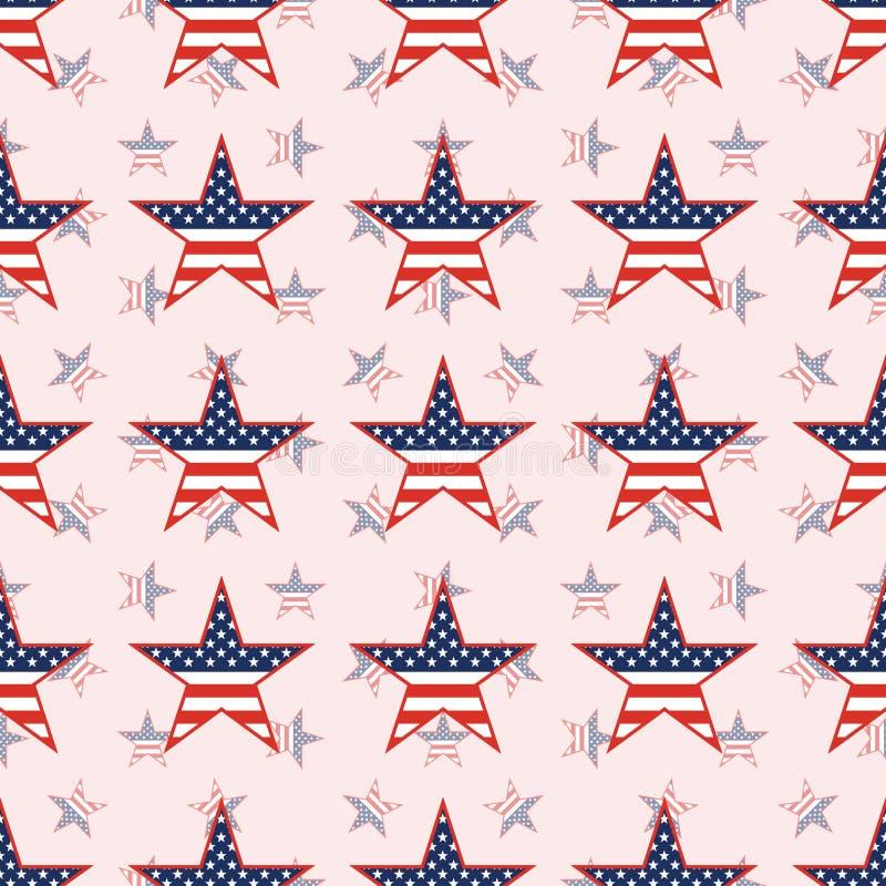 在国民的美国爱国星无缝的样式 向量例证