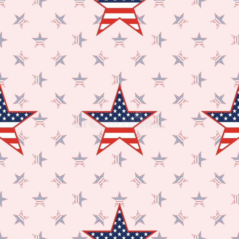 在国民的美国爱国星无缝的样式 皇族释放例证