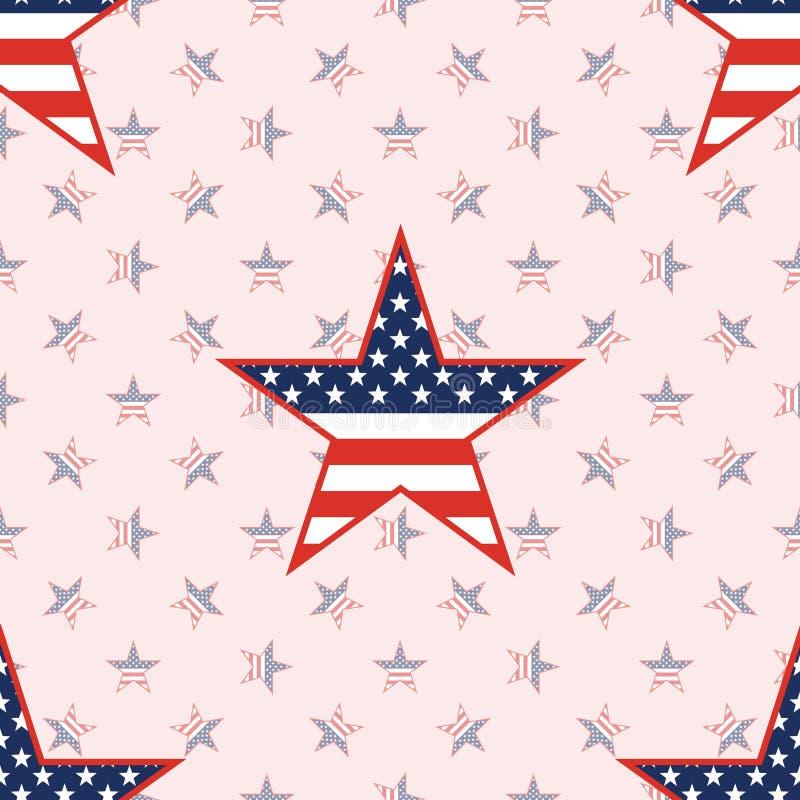 在国民的美国爱国星无缝的样式 库存例证