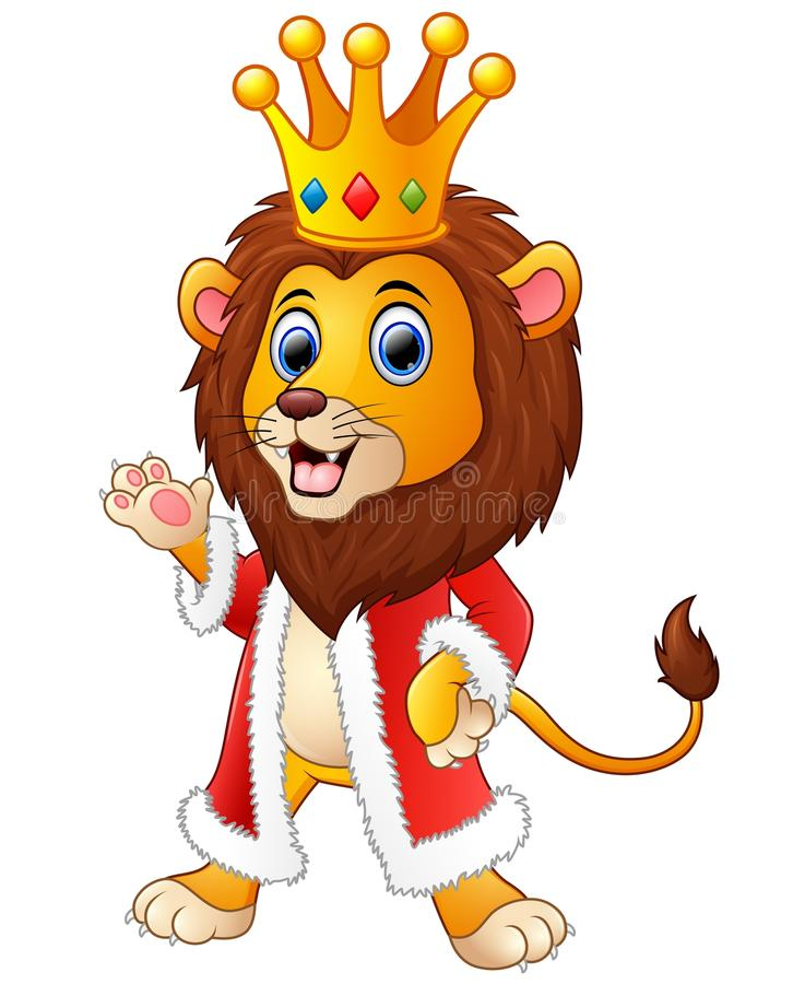 在国王成套装备的动画片狮子 库存例证