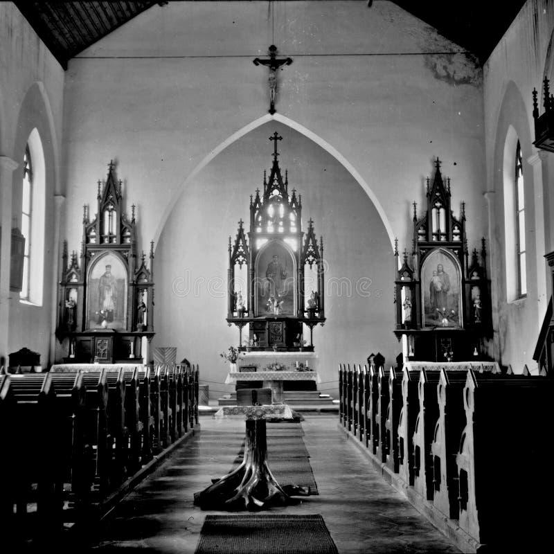 在国立公园Sumava中间的一个教会圣斯蒂芬 图库摄影