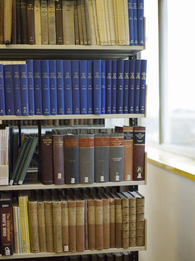 在图书馆架子的书 库存照片