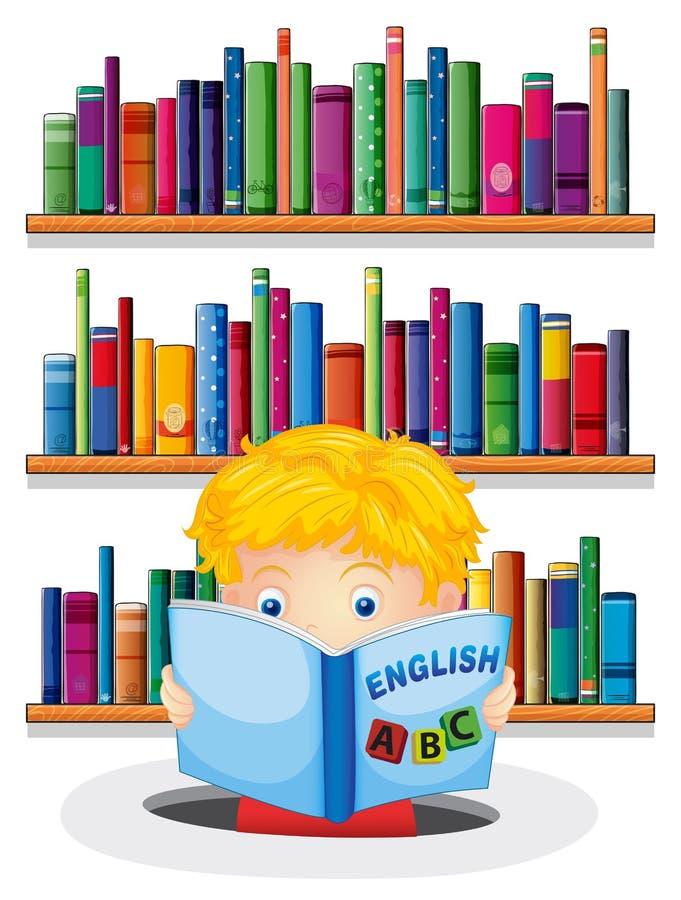 在图书馆里读英国书的一个男孩 向量例证
