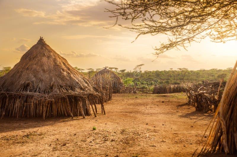 在图尔米,埃塞俄比亚附近的Hamer村庄 图库摄影
