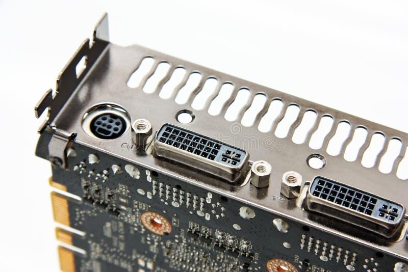 在图形卡的DVI连接 免版税库存图片