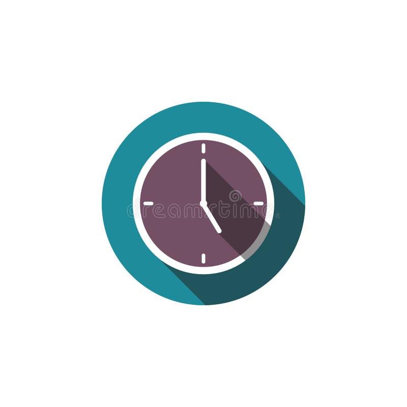 在图形设计的,商标,网站,社会媒介,流动app,例证白色背景隔绝的平的时钟传染媒介象 向量例证
