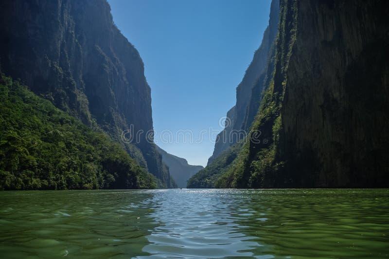 在图斯特拉-古铁雷斯附近的里面Sumidero峡谷在恰帕斯州 免版税库存图片