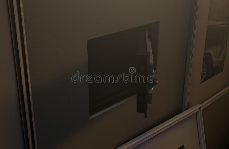 在图片后的开放暗藏的墙壁保险柜 库存照片