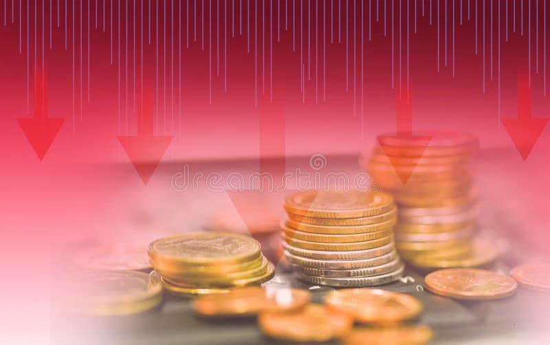 在图秋天下的股票危机红色价格下跌箭头 免版税库存图片