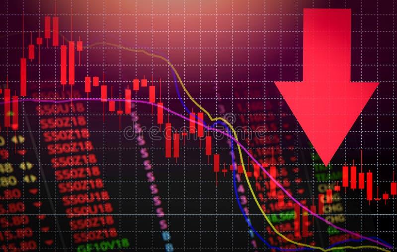 在图秋天/证券交易市场分析或者外汇图图表下的股票危机红色市场售价箭头 皇族释放例证
