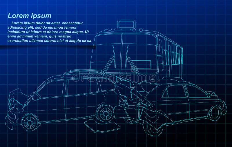 在图纸背景的事故概述 向量例证
