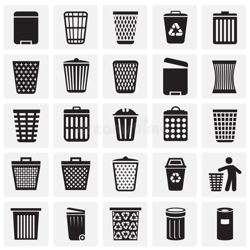 在图表和网络设计的正方形背景设置的垃圾桶象 简单的传染媒介标志 互联网概念标志为 皇族释放例证