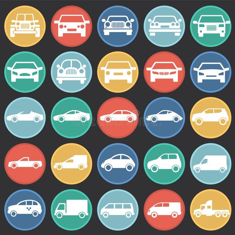 在图表和网络设计的,现代简单的传染媒介标志色环黑背景设置的汽车象 背景蓝色颜色概念互联网 皇族释放例证