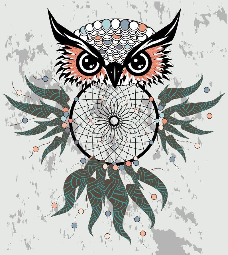 在图表样式的印度装饰梦想俘获器猫头鹰 例证 向量例证
