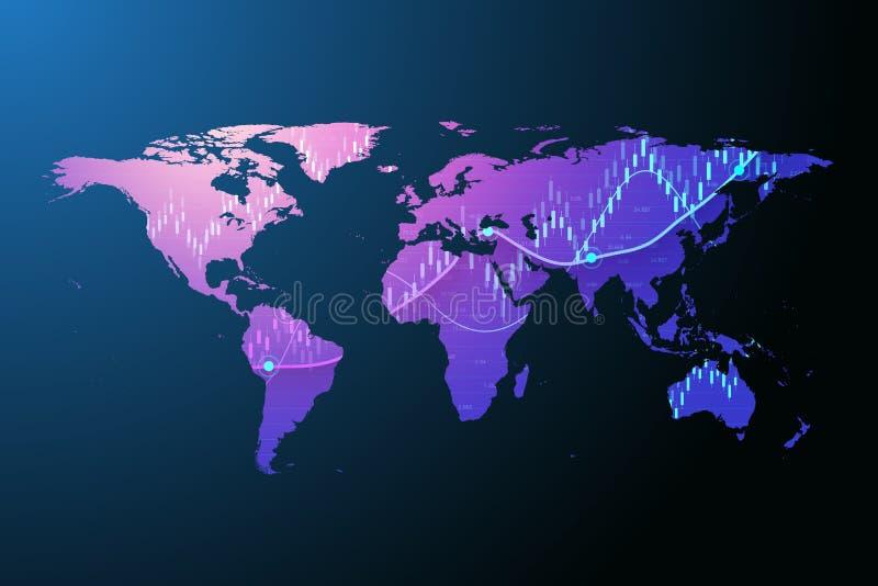 在图表概念的全世界股票市场或外汇贸易图表金融投资或经济趋势事务的 库存例证