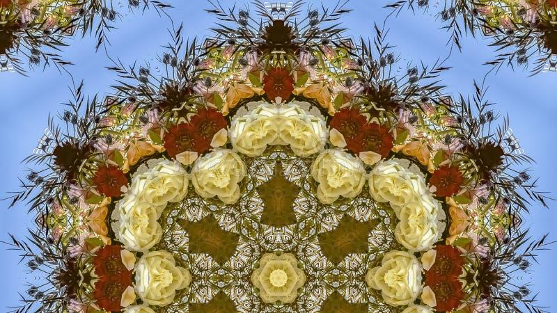 在圆安排的全景六角花在婚礼在蓝色背景的加利福尼亚 库存照片