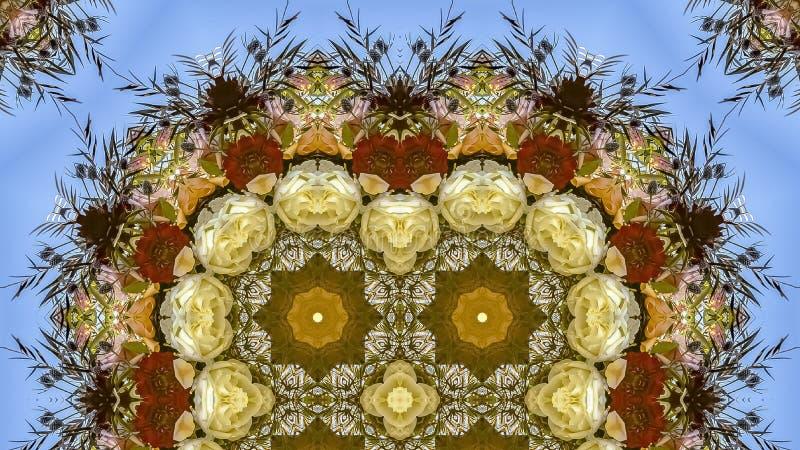 在圆安排的全景框架四倍花在婚礼在蓝色背景的加利福尼亚 库存照片