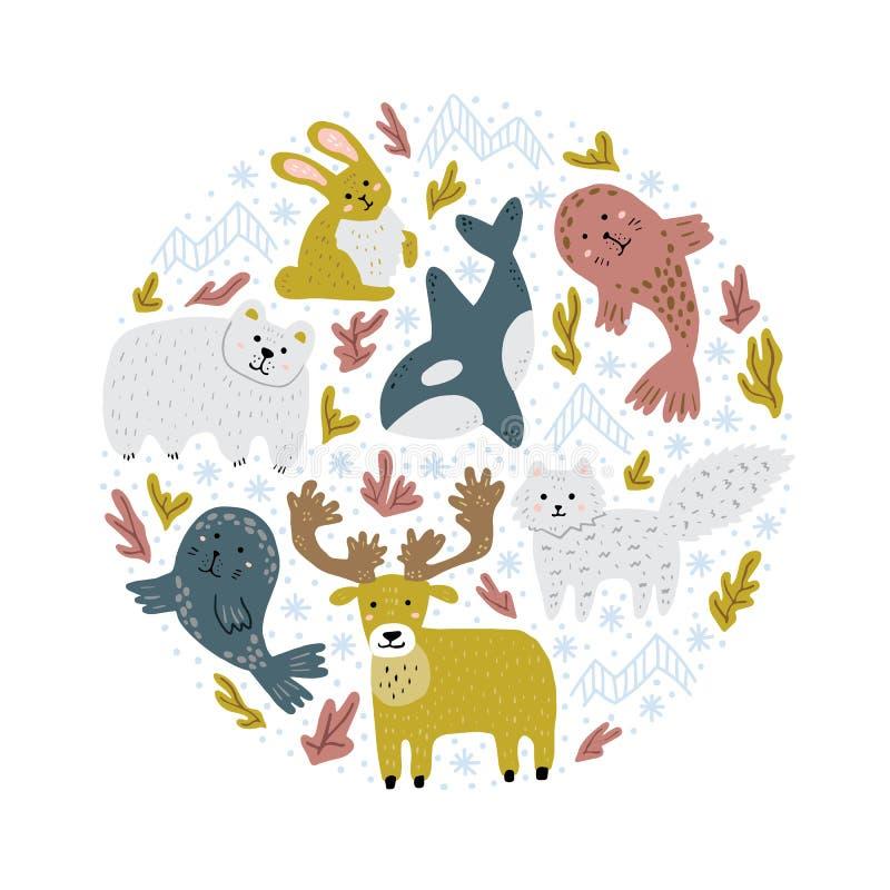 在圆形的动画片北极动物 逗人喜爱的幼稚手拉的例证 T恤杉的,袋子,卡片圆的印刷品 艺术轻的向量世界 皇族释放例证
