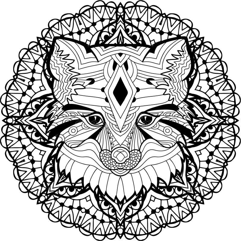 在圆样式背景的被绘的Fox  着色页 库存例证