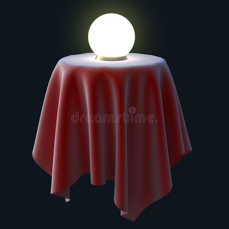 在圆桌上的发光的水晶球 向量例证