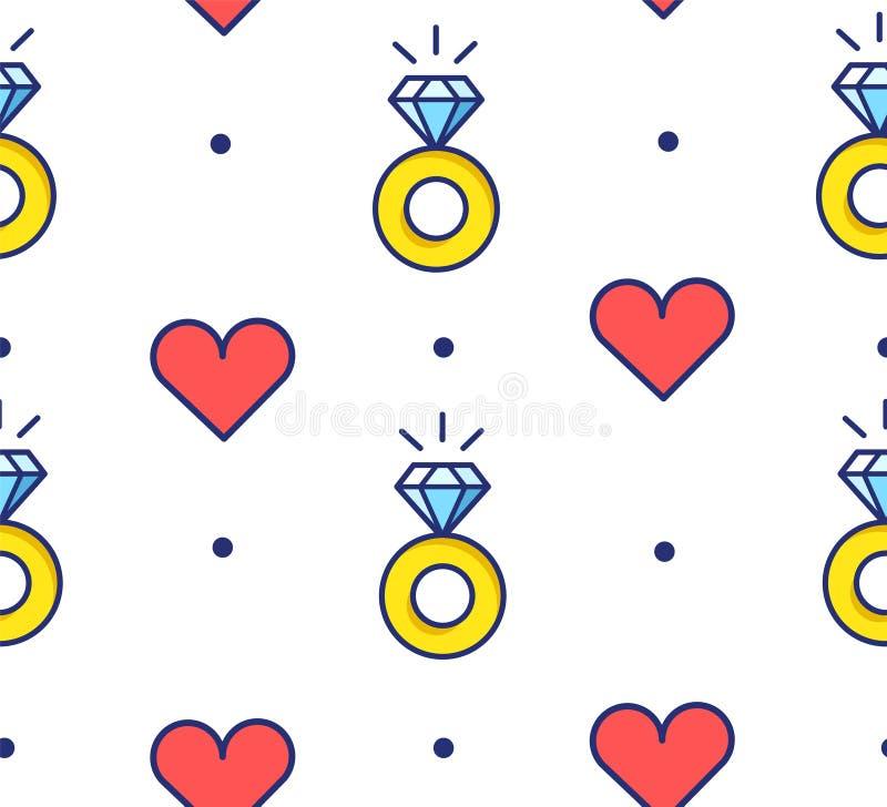 在圆点的无缝的样式与定婚戒指和心脏 稀薄的线平的设计 向量背景 皇族释放例证