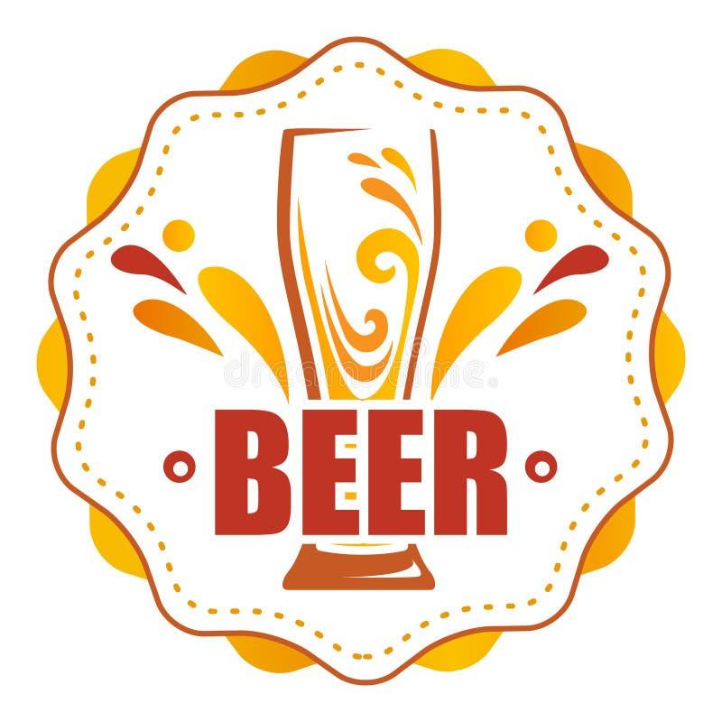 在圆的标签一杯啤酒 库存例证