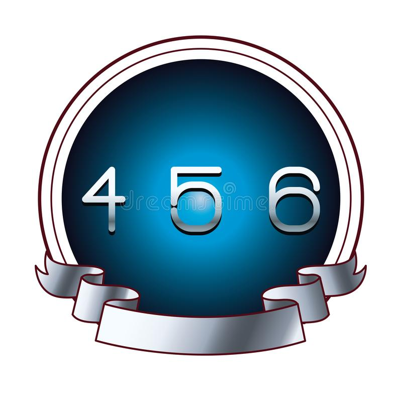 在圆的标签的四五个和六个数字 向量例证