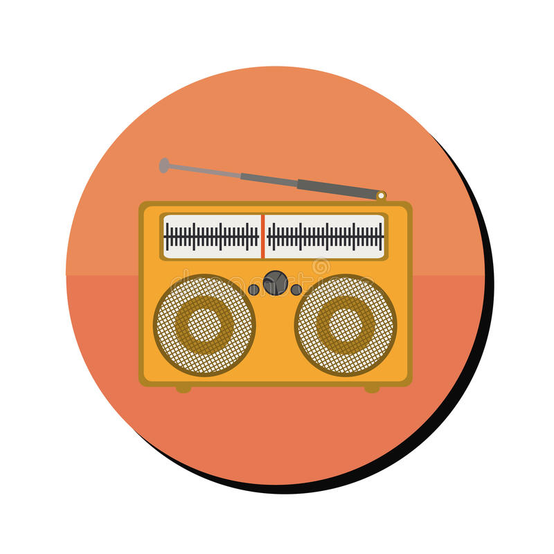 在圆的框架的无线电立体声便携式 皇族释放例证