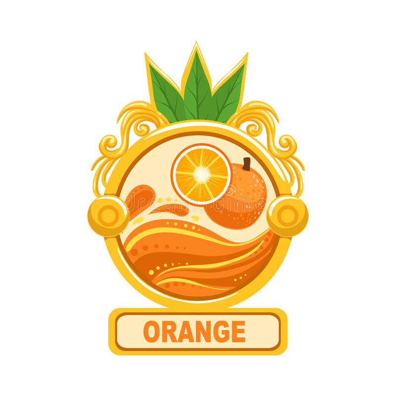 在圆的框架的橙色明亮的颜色果酱标签胶粘物模板 库存例证