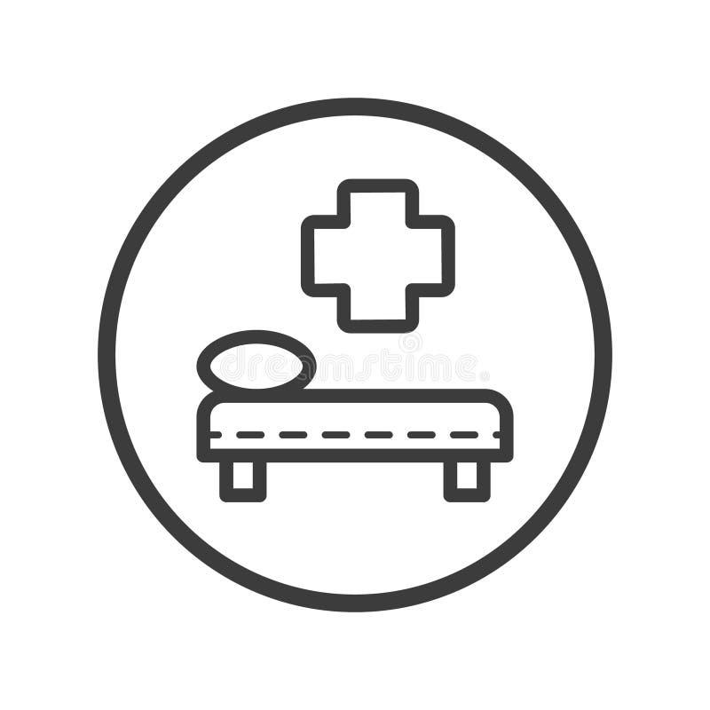 在圆的框架的线艺术医疗床铺象 库存例证