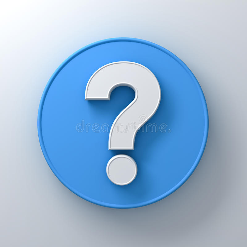 在圆的蓝色牌背景摘要的白色问号与阴影 皇族释放例证