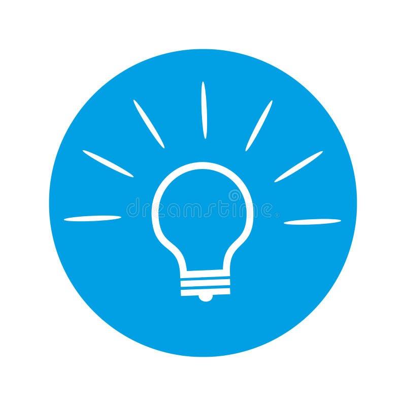 在圆的蓝色背景的电灯泡象 皇族释放例证
