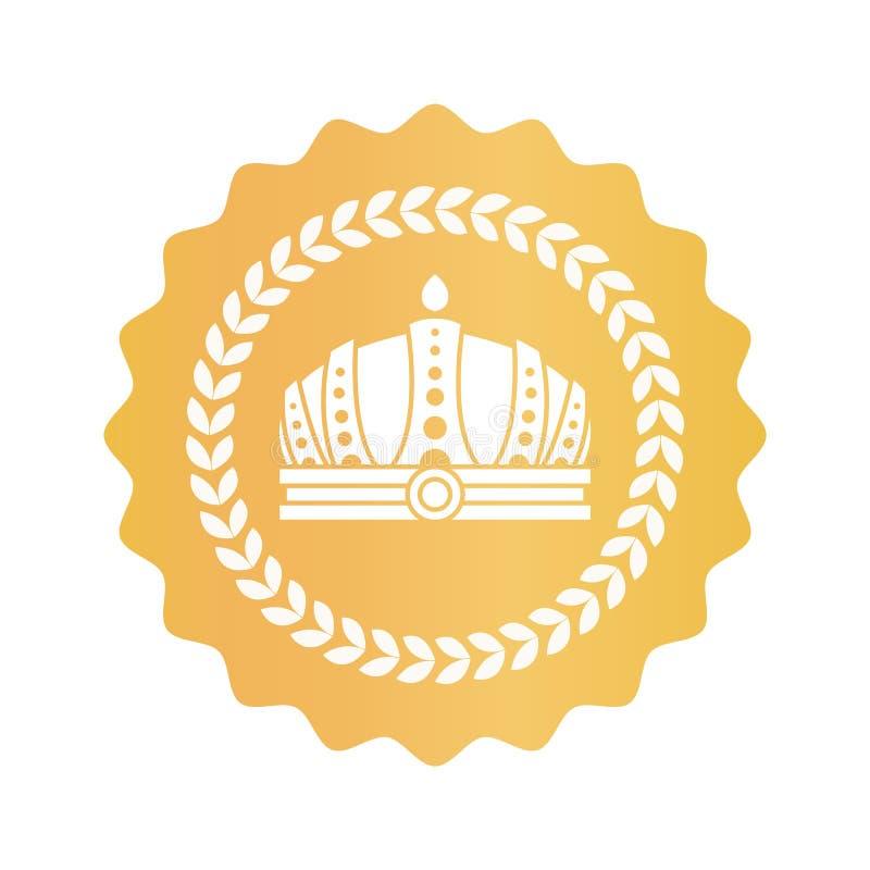 在圆的金子皇家认同标志的华美的冠 向量例证
