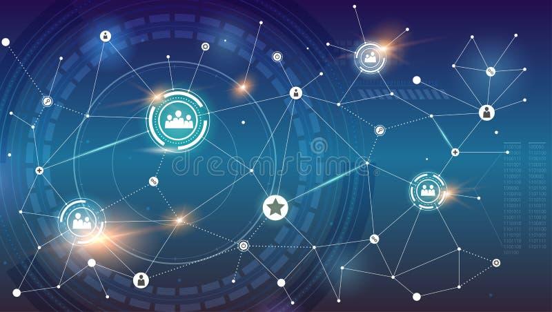 在圆HUD UI背景的社会网络  通信标志的全球性概念交互式互作用的 向量例证