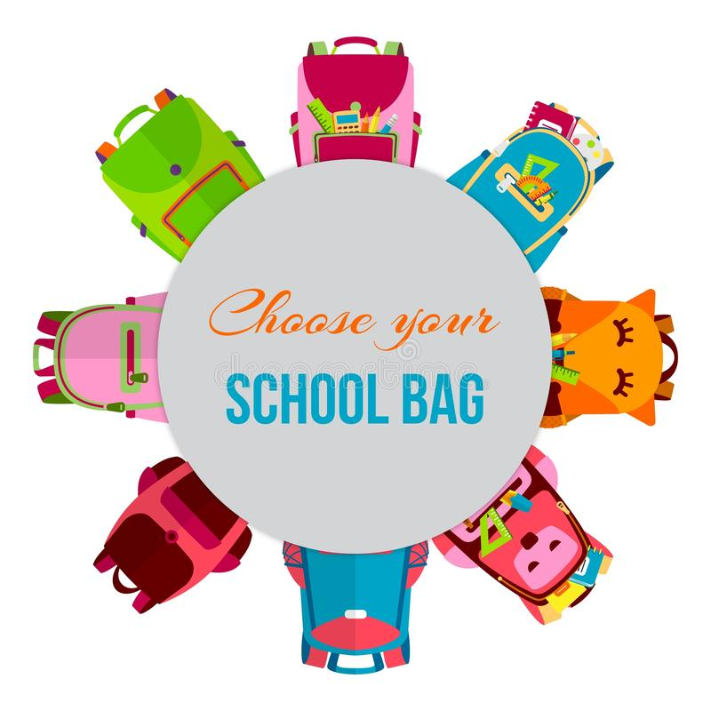 在圈子传染媒介例证的色的学校背包 有学校用品的,笔记本,铅笔,笔,统治者背包 向量例证
