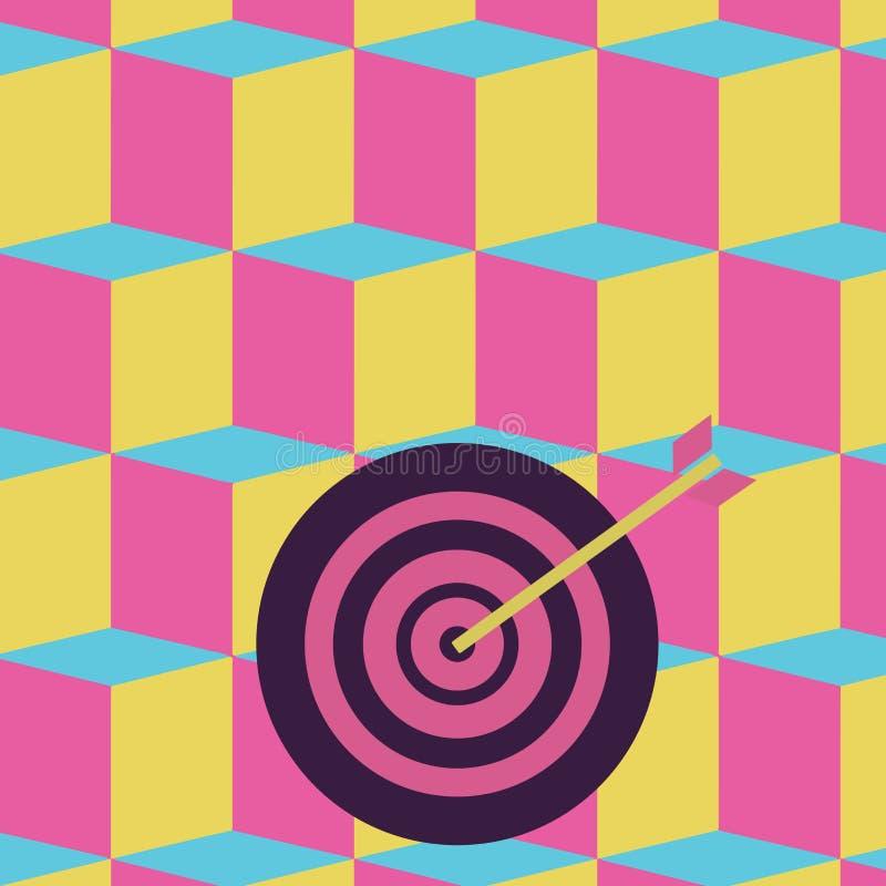 在圈子同心样式的五颜六色的飞镖与击中中心靶心的箭头 创造性的背景想法为 向量例证