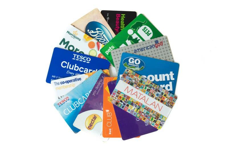 在圈子安排的商店和忠诚卡片 库存照片